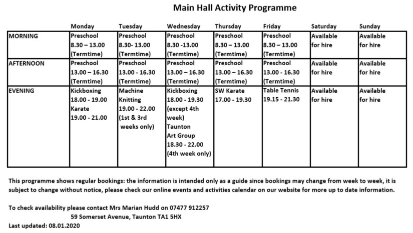 Main Hall Activity Programme 08.01.2020