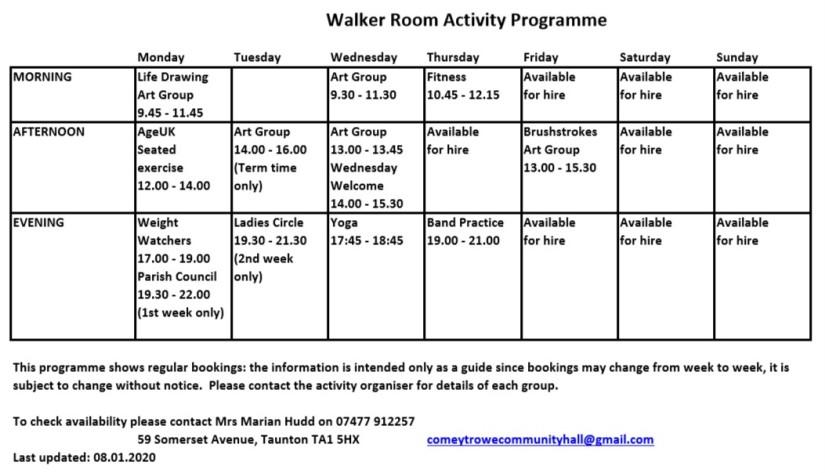 Walker Room Activity Programme 08.01.2020